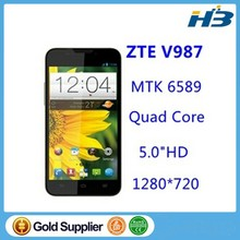 "In Stock Original ZTE V987 Grand X MTK6589 Mobile phone Quad-core 1.2G Android 4.2 5.0""HD 1GB RAM+4GB ROM 2500mAH Free Gift"