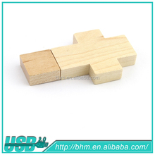 Wooden cross shaped USB flash drive pen drives memory stick gift Memory usb stick