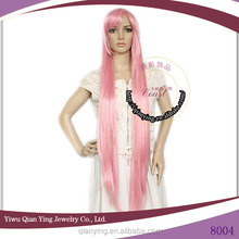 straight light pink extra long cosplay hair wig
