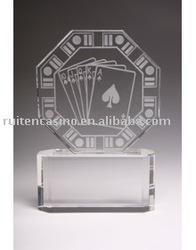 Etched Crystal Octagon Poker Award Trophy poker award trophy