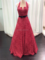 Custom Made Lace Appliqued Halter Low Back Black Sash A-Line Long Evening Party Dress Wholesale Made in China C10