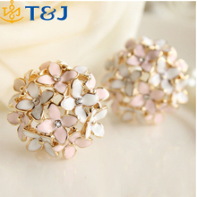Pink Blue Flower Four Leaf Stud Earrings Clove Designer New for Women Girls/