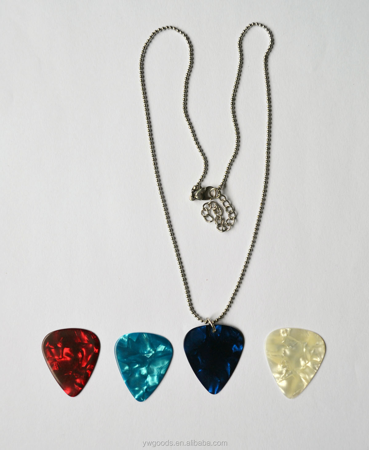 Guitar pick necklace with 4 interchangeable guitar picks buy ball chaing aloadofball Gallery