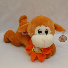 cute lying plush animal with flower toy / plush animal toy / plush promotioal gift