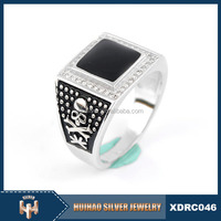 wholesale high quality man black stone 925 sterling silver mood ring
