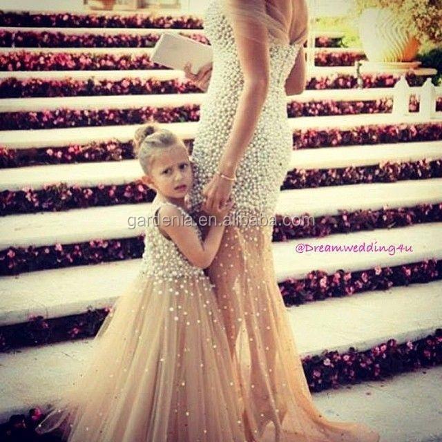 Nu jupe fleur fille robe avec perles m re et fille robe robes de cort ge pour fille id de - Robe mere fille ...