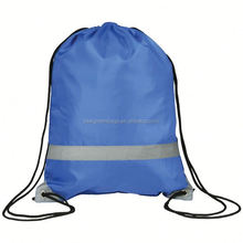 top quality with competitive price polyester reflective drawstring sports backpack with reflective corner