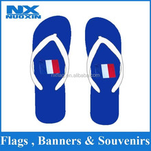 high quality heat transfer printing PE sole custom blue flip flop