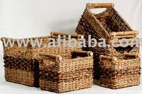 Set of 4 Storage Baskets made from Abaca and Hyacinth