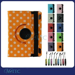 Polka Dot 360 degree rotary leather case for kindle fire hd 7 2014