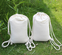 Yuanjie customized plain white organic drawstring cotton tote bag,pull string packing bags for promotion from Shenzhen factory