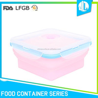 Silicone storage FDA / LFGB grade collapsible container for food with dividers