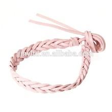 Real de cuero trenzado pulsera de la pulsera - rosa claro