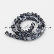 Round Matte Cracked Black Agate Stone Beads 6 8 10 12 14 16mm