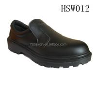 SL,black no folds leather dirt & oil resistant low cut anti skip five star hotel shoes