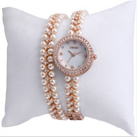W4793 Rose Gold Lady Fashion Double Line Crystal Jewelry Watch