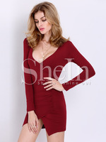 Dresses fashion women girl clothes Wine Red Long Sleeve V Neck Elegantly Bodycon Dress