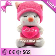 Low price custom high quality pink bee plush stuffed toys with plush love doll