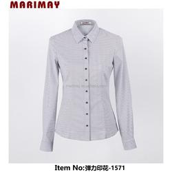 Online shopping windmills print formal slim fit long sleeve office uniform design ladies office uniform