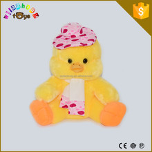 pretty soft plush stuffed little yellow duck toys with cute hat