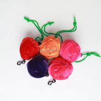 flower reusable shopping bag folding nylon bag, drawstring polyester shopping bag