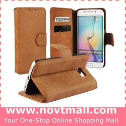 2015 Hot New Arrival Dull Polish Brown PU Leather Flip Case Cover For Samsung S6 Edge With Stand