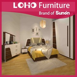 Hot Sell Moden Melamine/MDF with Fabric Bedroom Set From LOHO Furniture