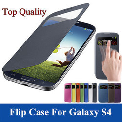Luxury Leather PU Flip Case For Samsung Galaxy S4 I9500 SIV S IV with Battery Housing Cover Design PY