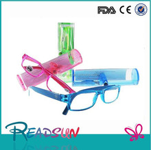Fashion design hot selling plastic reading glasses with colorful plastic case