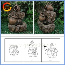 Polyresin clay pot decorative water fountains with LED light