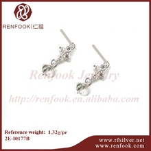 RenFook factory direct sale 925 sterling silver casting type flower earring for pearl with 5mm cup