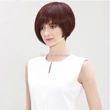 Sleek wig lady full head hair Oblique bangs short straight hair BOBO head highlights realistic net