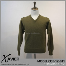 military style pullover/sweater 100%wool army men's shrug sweater