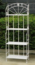 4 Tier Metal Shelf Plant Stand Antique White Outdoor and Indoor Patio Furniture