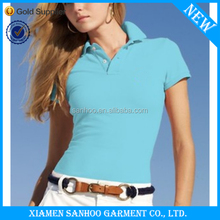 Fitted Ladies Polo T Shirts Popular OEM Top Quality Custom Logo 100% Cotton