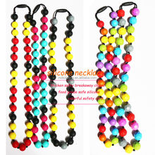 2015 New stylish design silicone teether baby toy teething necklace