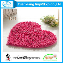 Wholesale Factory Price Heart Shaped Chenille Shaggy Bath Rug Floor Carpet and Door Mat