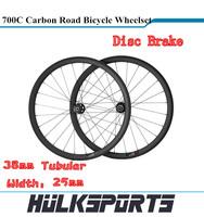 Disc Brake Road bicycle wheels wholesale 700c full carbon road bike Tubular wheelset 38mm carbon wheels with 25mm width