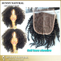 human hair round lace closure 6*6 Indian tight curly remy lace front closure