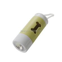 Yellow dog waste bag dispenser led light