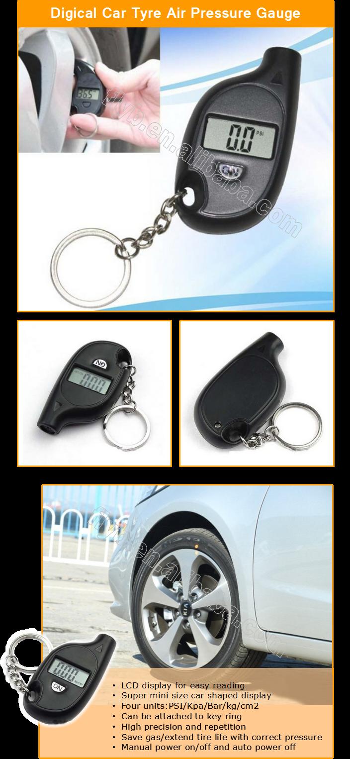 Mini Voiture digital tire gauge indicateur chargeuse sur pneus lcd jauge de pression des pneus