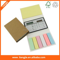 high quality folded sticky notepads combined with paper strips and mini calculator