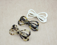 Yiwu factory hair accessory fashion design acetate bow knot shaped colored bobby pins