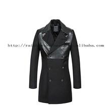 black extended longline high quality men leather coat