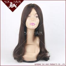 Hot selling Top quality beautiful 24inches long silk Virgin Human European Hair wigs Jewish Wig
