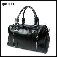 Guangzhou fashion shoulder bag man leather travel black leather handbag for sale
