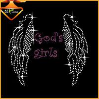 God girls rhinestone transfer iron on angel wings