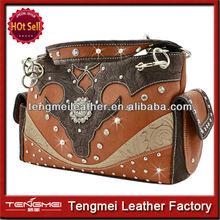 cowgirl western studded beaded lady rhinestone shoulder brand leather handbag