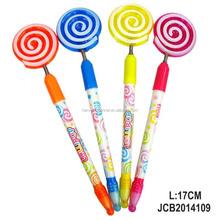 plastic lollipop ballponit pen light up vinyl pen