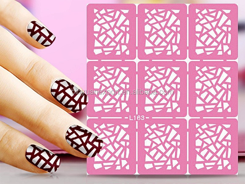 Bin Hollow Nail Stencil Stickers Nail Art Stamp Template Stickers ...